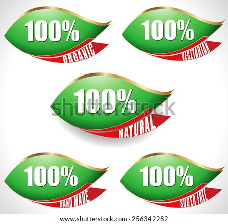100% natural, pure, organic, hand made, vegetarian, sugar free - stickers. Vector. - stock vector
