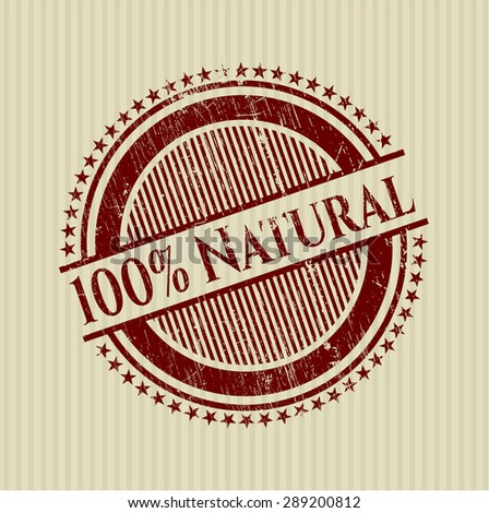 100% Natural rubber grunge stamp - stock vector