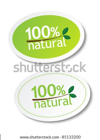 100% natural stickers - stock vector