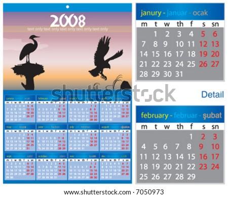 2008 nature calendar - stock vector