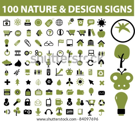 100 nature design icons, signs, vector illustrations - stock vector