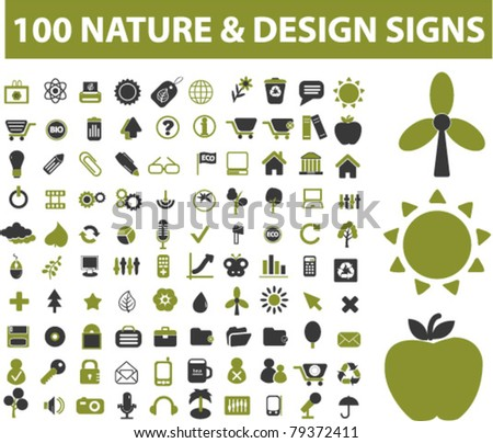 100 nature icons, signs, vector illustrations - stock vector