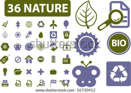 36 nature signs. vector - stock vector