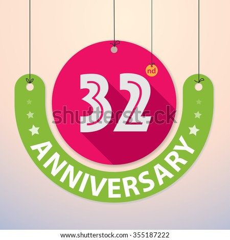 32nd Anniversary - Colorful Badge, Paper cut-out - stock vector