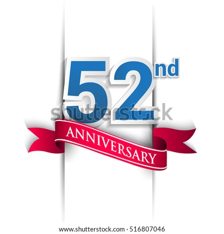 52nd anniversary logo, blue and red colored vector design on white background. template for Poster or brochure and invitation card.