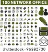 100 network office icons set, vector - stock vector