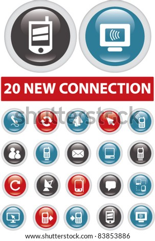20 new connection buttons, icons, signs, vector illustrations set