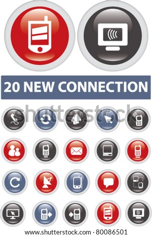 20 new connection icons, signs, vector illustrations - stock vector