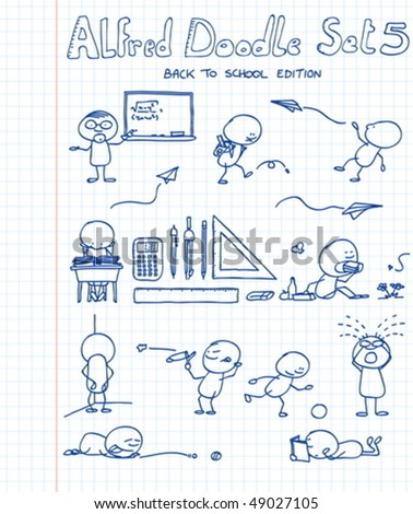 11 new, cool and funny doodles featuring Alfred Doodle in back to school situations - stock vector