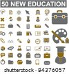 50 new education icons, signs, vector illustration set - stock photo