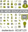 50 new education icons, signs, vector illustrations - stock vector