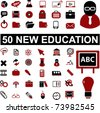 50 new education, school, science icons & signs, vector - stock photo