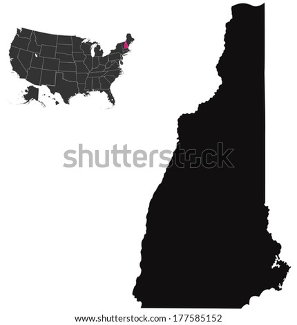 new hampshire map  - stock vector