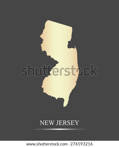 New Jersey map outlines in an abstract grey background, a black and white map of State of New Jersey in USA - stock vector