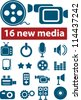 16 new media icons set, vector - stock vector