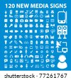 120 new media signs, icons, vector illustrations - stock photo