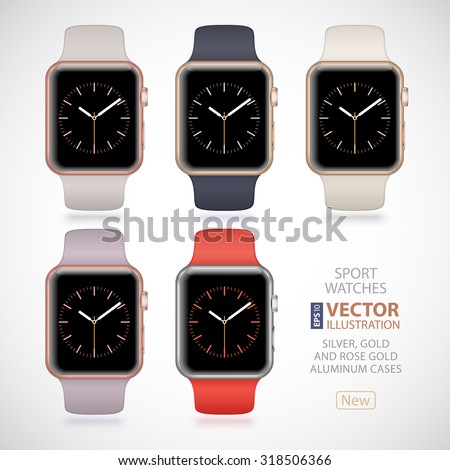 5 new modern shiny sport smart watches with antique white, midnight blue, lavender, stone and orange plastic bands and digital clock faces isolated on white background. RGB EPS 10 vector illustration - stock vector