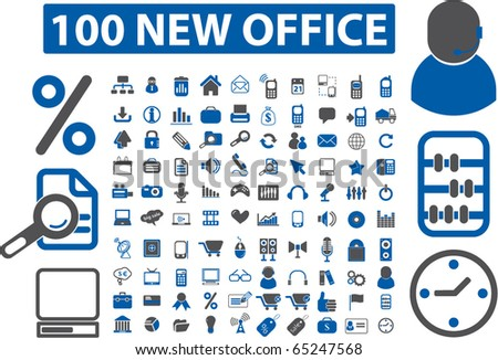 100 new office signs. vector - stock vector