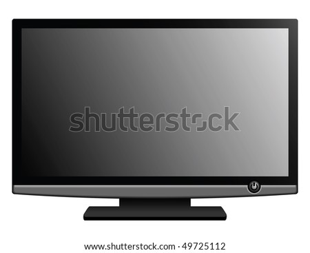 New wide-screen TV set in elegant glass design isolated on white background. Vector illustration. - stock vector
