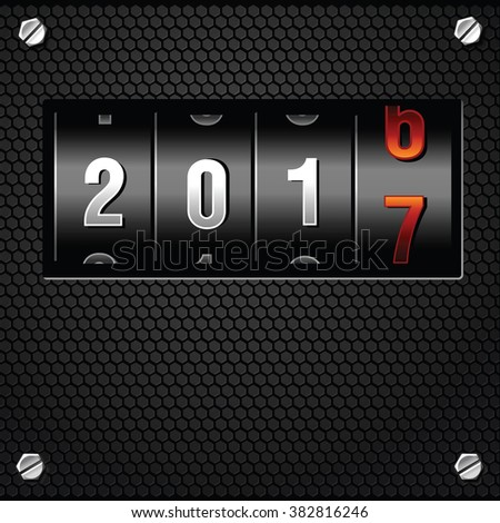 2017 New Year Analog Counter detailed vector - stock vector