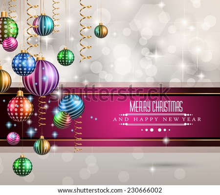 2015 New Year and Happy Christmas background for your flyers. Includes a lot of festive themed elements: balls, stars, golden words and shapes. - stock vector