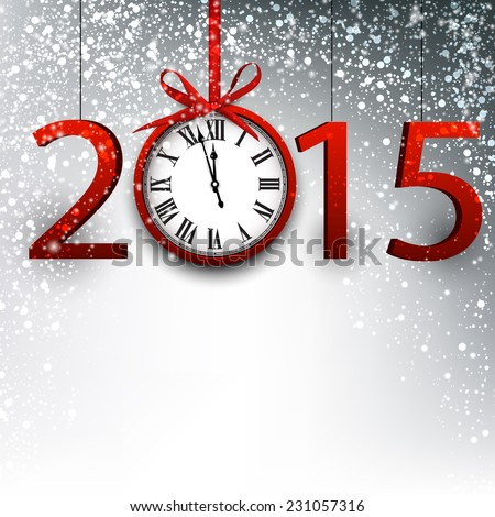 2015 new year background with vintage clock. Vector illustration.