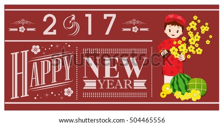 2017 new year banner vietnamese traditional style
