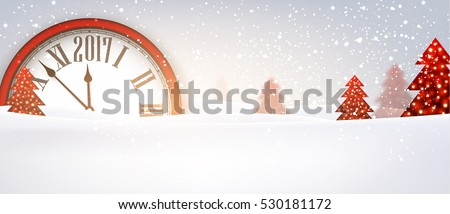 2017 New Year banner with red clock. Vector illustration.