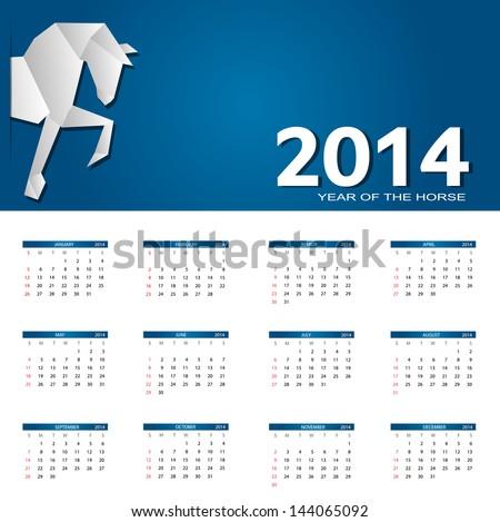 2014 new year calendar vector illustration - stock vector