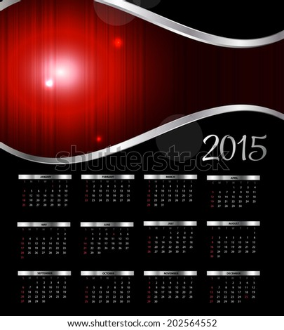 2015 New Year Calendar Vector Illustration