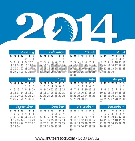 2014 new year calendar with the horse. vector illustration - stock vector