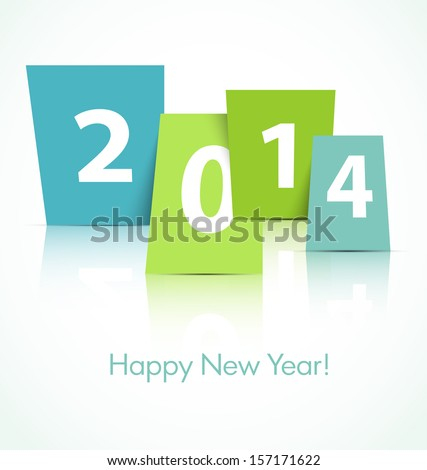 2014 new year card - stock vector