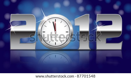 2012 New Year Card - shining metal digits with clocks instead of number zero.- vector illustration - stock vector
