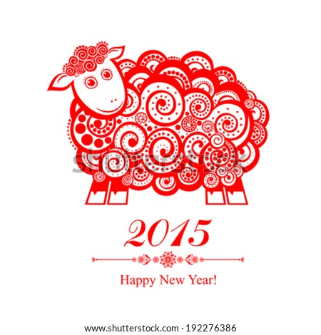 2015 new year card with red sheep. vector illustration  - stock vector