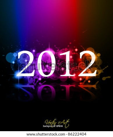 2012 New Year celebration background for cover, Flyer or poster with glitter elements and rainbow colours. - stock vector
