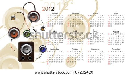 2012 New Year celebration background for music night disco
