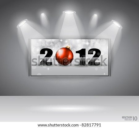 2012 New Year Celebration Cinema Panel with Glitters and a lot of stars and lights suggestive effect. - stock vector