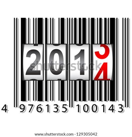 2014 New Year counter, barcode, vector. - stock vector