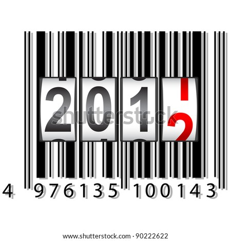 2012 New Year counter, barcode, vector. - stock vector