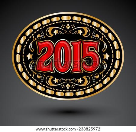 2015 new year Cowboy belt buckle design  - stock vector