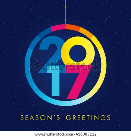 2017 new year creative colored design for your greetings card, flyers, party and event. 2017 season's greetings - stock vector