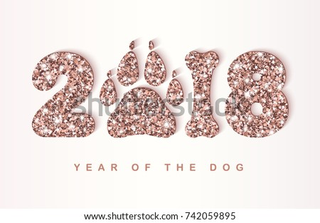 2018 new year creative greeting card with shining rose gold numbers dog paw print and