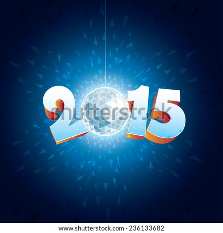2015 New Year Disco Ball with reflections. - stock vector