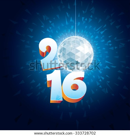 2016 New Year Disco Ball with reflections. - stock vector