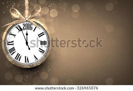 2016 New year golden background with vintage clock. Vector illustration with place for text.  - stock vector