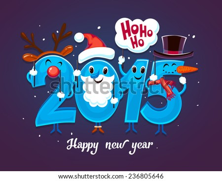 2015 new year greeting card - stock vector