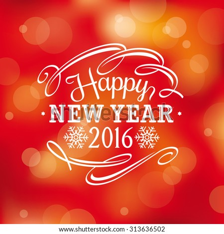 2016 New year greeting card, vector illustration, eps10 - stock vector