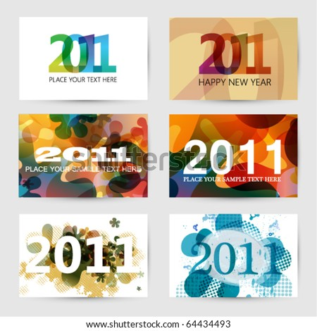 2011 New Year Greeting Cards - stock vector