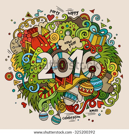 2016 New year hand lettering and doodles elements background. Vector colorful illustration - stock vector