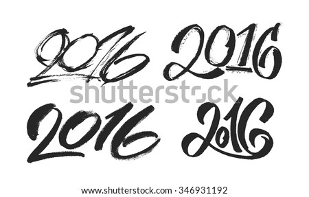 2016 New Year hand lettering design set. Chinese and modern calligraphy for Year of the Monkey 2016. Vector illustration. 2016 year typographic inscription isolated on white background.  - stock vector